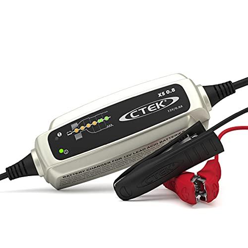 CTEK XS 0.8, Batterieladegerät 12V 0.8A, Erhaltungsladegerät, Intelligentes Ladegerät Motorrad,...